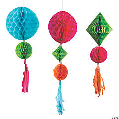Party Animal Honeycomb Tissue Balls with Tassels