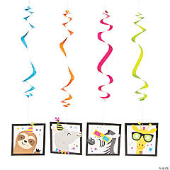 Party Animals Hanging Swirl Decorations - 12 Pc.