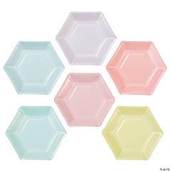 Pastel Color Hexagonal Dessert Plates