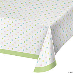 Pastel Polka Dots Plastic Tablecloth
