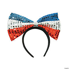 Patriotic Big Bow Sequin Headbands