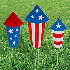 Patriotic Fireworks Yard Sign Set