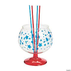 Patriotic Fishbowl Glass with Straws