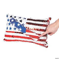 Patriotic Flag Flipping Sequin Pillow