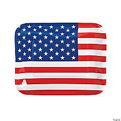 Patriotic Flag-Shaped Paper Dinner Plates - 8 Ct.