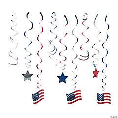 Patriotic Hanging Swirl Decorations - 30 Pc.