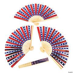 Patriotic Iridescent Folding Hand Fans