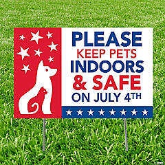 Patriotic Keep Pets Safe Yard Sign