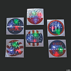 Patriotic Light-Up Badges with Sayings
