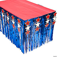 Patriotic Metallic Fringe Plastic Table Skirt with Stars