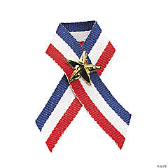 Patriotic Ribbon with Star Pins Clip Strip