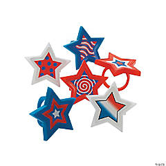 Patriotic Star-Shaped Rings Clip Strip