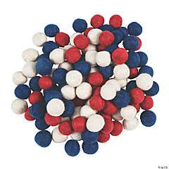 Patriotic Wool Felt Pom-Poms