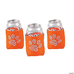 Paw Print Bling Orange Can Coolers