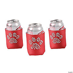Paw Print Bling Red Can Coolers