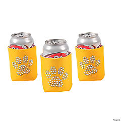 Paw Print Bling Yellow Can Coolers