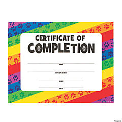 Paw Print Certificates of Completion