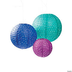 Peacock Color Eyelet Hanging Paper Lanterns