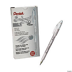 Pentel® Sunburst™ Metallic Pen, Silver, Pack of 12