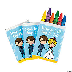 Personalized 6-Color Wedding Activity Table Crayons - 48 Boxes