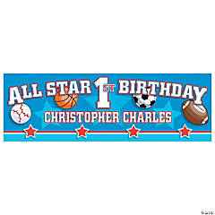 Personalized All Star 1st Birthday Banners
