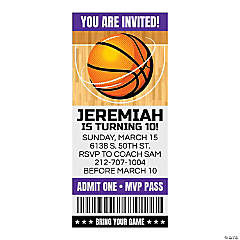 Personalized Basketball Ticket Invitations