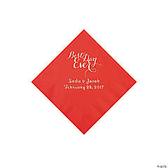 Personalized Best Day Ever Red Beverage Napkins with Silver Foil