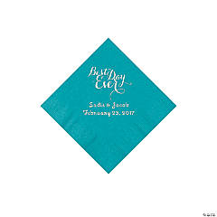 Personalized Best Day Ever Turquoise Beverage Napkins with Silver Foil