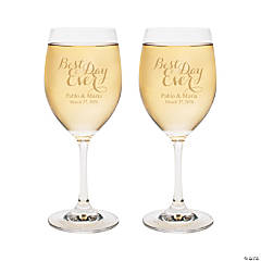 Personalized Best Day Ever Wine Glasses