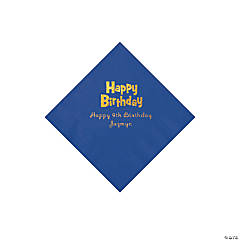 Personalized Birthday Blue Beverage Napkins