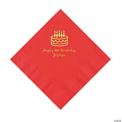 Personalized Birthday Cake Red Luncheon Napkins