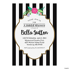 Personalized Black & White Bridal Shower Invitations