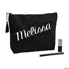 Personalized Black Canvas Makeup Bag