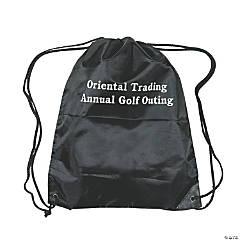 Personalized Black Drawstring Bags