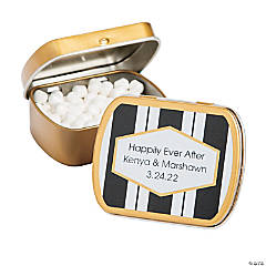 Personalized Black, White & Gold Stripes Mint Tins