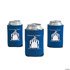 Personalized Blue Carnival Can Coolers