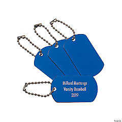 Personalized Blue Dog Tag Keychains