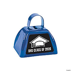 Personalized Blue Graduation Cowbells
