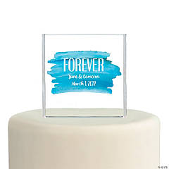 Personalized Blue Watercolor Cake Topper