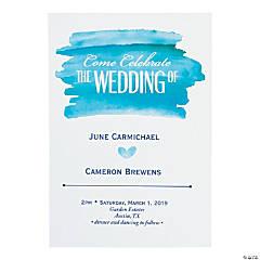 Personalized Blue Watercolor Wedding Invitations