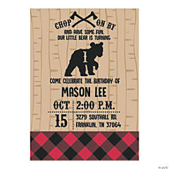 Personalized Buffalo Plaid Birthday Party Invitations