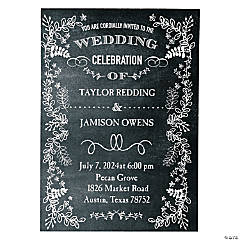 Personalized Chalkboard Floral Wedding Invitations - 25 Pc.