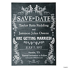 Personalized Chalkboard Floral Wedding Save the Dave Cards