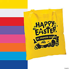 Personalized Church Egg Hunt Large Tote Bags