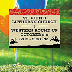 Personalized Church Western Event Double-Sided Yard Sign