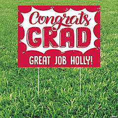 Personalized Congrats Grad School Color Yard Sign