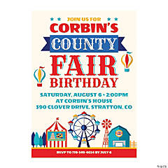 Personalized County Fair Birthday Party Invitations