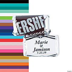 Personalized Elegant Wedding Script Mini Candy Bar Sticker Labels