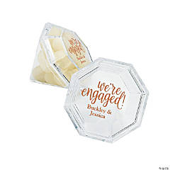 Personalized Engaged Diamond-Shaped Favor Boxes