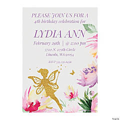Personalized Fairy Birthday Party Invitations